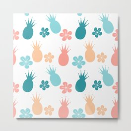 cute colorful pattern with pineapples and flowers Metal Print