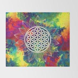 Flower Of Life (Lively World) Throw Blanket