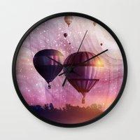 nan lawson Wall Clocks featuring  So Far so Close by Viviana Gonzalez