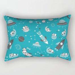 Pandas In Space Blue Gray Rectangular Pillow