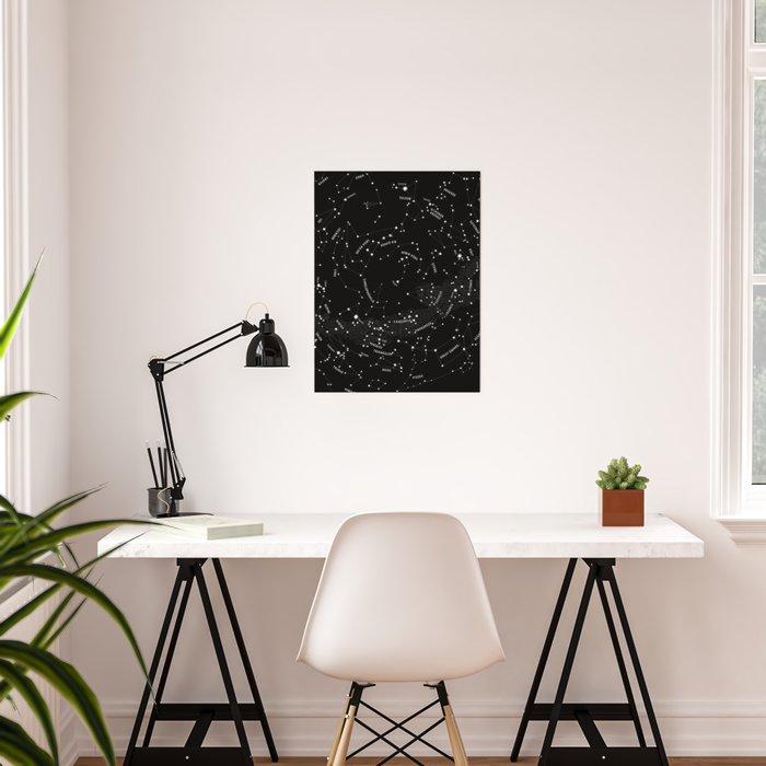 Constellation Map - Black Poster