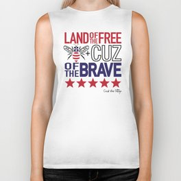Land of the Free Because of the Brave Biker Tank
