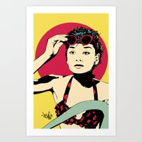 audrey Art Prints featuring Audrey by Vee Ladwa