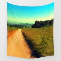 hiking Wall Tapestries featuring Hiking on a hot afternoon by Patrick Jobst