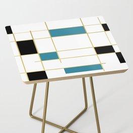MidCentury Modern Art Aqua Gold Black Side Table