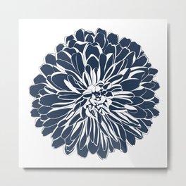 Isolated Chrysanthemum Illustration - Navy Blue Metal Print