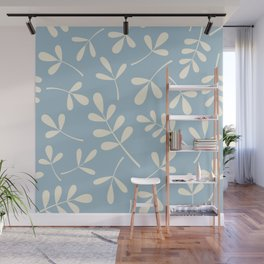 Cream on Blue Assorted Leaf Silhouettes Wall Mural