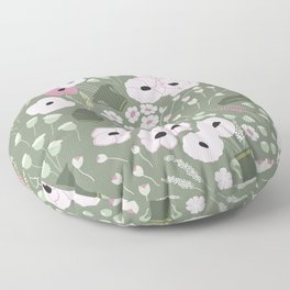 Pink Poppies - kaki floral pattern Floor Pillow