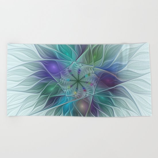 Colorful Fantasy Flower Fractal Art Abstract Beach Towel