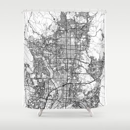 Kyoto Map White Shower Curtain