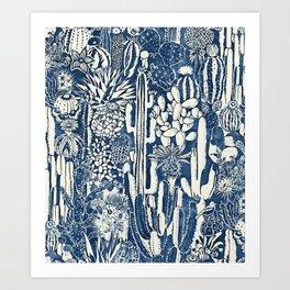 Indigo cacti Art Print