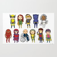 super heroes Area & Throw Rugs featuring Super Cute Heroes: X-Men by Kayla Dolby