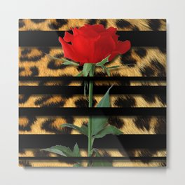 Leopard Print Black Stripes & Intertwining Rose Metal Print