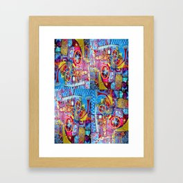 Steam Punk Music with key Board, Horns, Gears  In Blue, Pink & Yellow Abstract Framed Art Print
