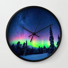 Aurora Borealis Over Wintry Mountains Wall Clock