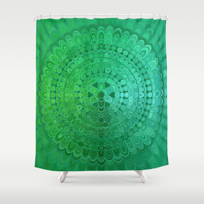 Green Mandala Circle Shower Curtain by davidzydd | Society6
