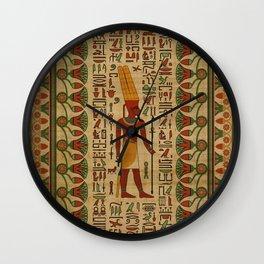 Egyptian Amun Ra - Amun Re Ornament on papyrus Wall Clock