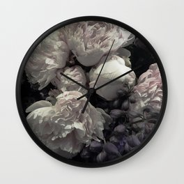 Peonies pale pink and white floral bunch Wall Clock