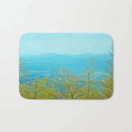 Deciduous beech forest view in spring, mountain landscape Bath Mat