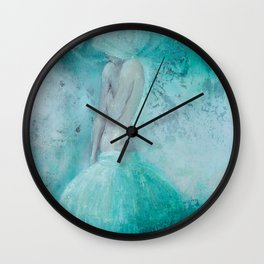 contemporary art, figure painting, romantic woman print, digital , Woman,turquoise,nude,bedroom desi Wall Clock