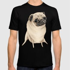 Sweet Fawn Pug SMALL Mens Fitted Tee Black