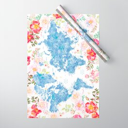 Blue and hot pink floral watercolor world map with cities Wrapping Paper