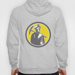 Coal Miner Hardhat With Pick Axe Lamp Front Circle Hoody