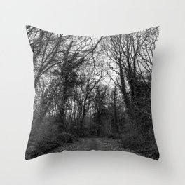 Monochromatic forest path Throw Pillow