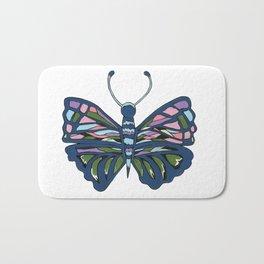 Butterfly In Blue Bath Mat