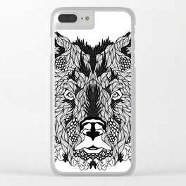 BEAR head. psychedelic / zentangle style Clear iPhone Case