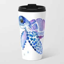 Blue Purple Sea Turtle, Children artwork Travel Mug