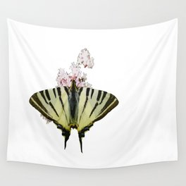 Scarce Swallowtail On Wild Garlic Flowers Vector Isolated Wall Tapestry
