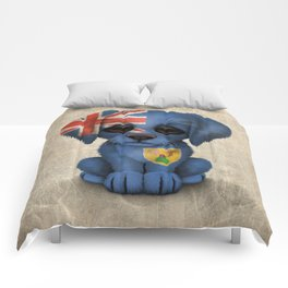 Cute Puppy Dog with flag of Turks and Caicos Comforters