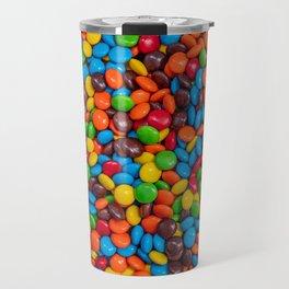 Colorful Candy-Coated Chocolate Pattern Travel Mug