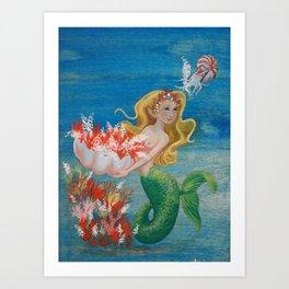 Mermaid and Nautilus Oil on Birchwood Panel Art Print
