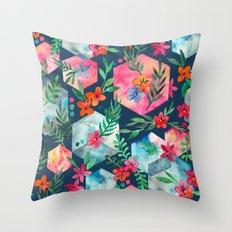 Whimsical Hexagon Garden on Blue Throw Pillow