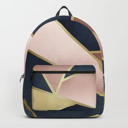 Geometric Art, Rose Gold, Pink and Navy Blue Modern  Backpack