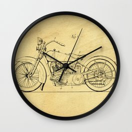 Motorcycle Support Patent Drawing From 1925 Wall Clock