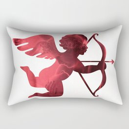Cupid With Arrow, Eros and Psyche, Cupid Valentine Print, Valentine's Day Red Cupid Home Decor Rectangular Pillow