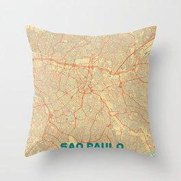 Sao Paulo Map Retro Throw Pillow
