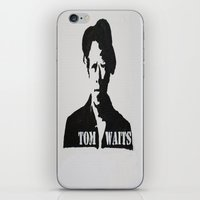 tom waits iPhone & iPod Skins featuring Tom Waits Painting by All Surfaces Design