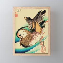 Mandarin Ducks - Vintage Japanese Art Framed Mini Art Print