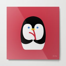 Penguin + Licorice Metal Print