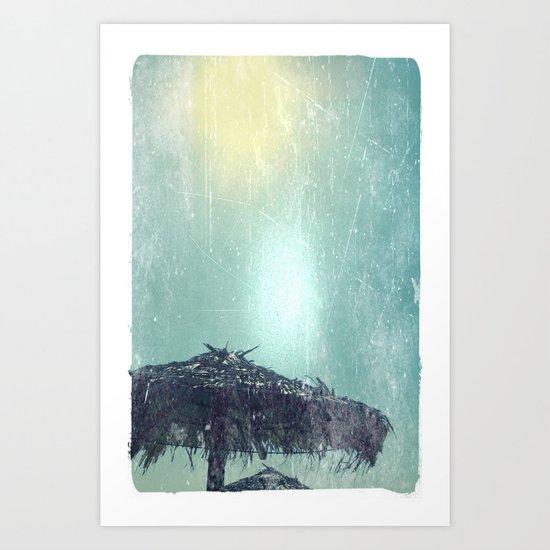Umbrella on Beach (alt) Art Print