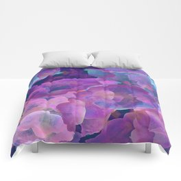 Purple, teal and blue abstract watercolor clouds Comforters