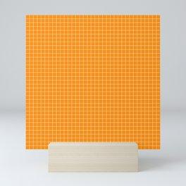 Orange Grid White Line Mini Art Print