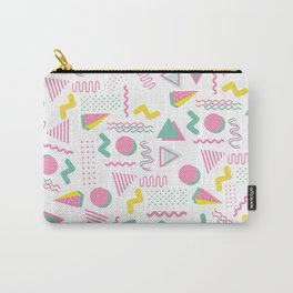Abstract retro pink teal yellow geometrical 80's pattern Carry-All Pouch