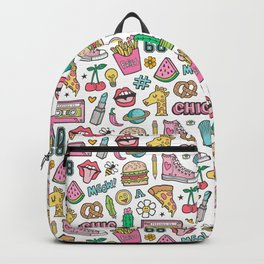 90's Vintage Patches Stickers Doodle Backpack