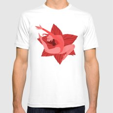 Red MEDIUM White Mens Fitted Tee