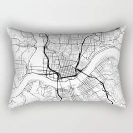 Cincinnati Map, USA - Black and White Rectangular Pillow